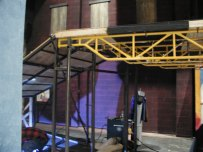 Act II- upstage Boardwalk structure- designed to support stock scaffolding put-logs.