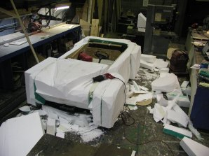 Golf cart was wrapped in plywood and then covered in large sections of expanded polystyrene for carving.